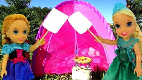 芭比公主去野外露营,边吃烧烤边看风景,晚上睡在帐篷里!