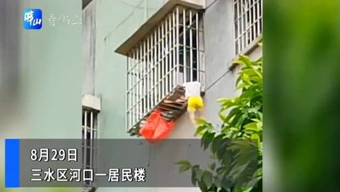 险!三水一小孩被卡5楼防盗网 几名热心男子撞门救人