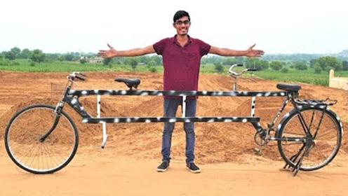 印度小伙把自行车改装成4米长,两个同行,别说效果真不错!