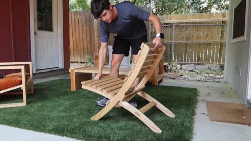 两把靠背做椅子,中间不用钉子连接,放到一起能承重200磅!