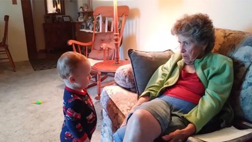 祖母很严肃!下一秒,萌宝:我就是开心果!