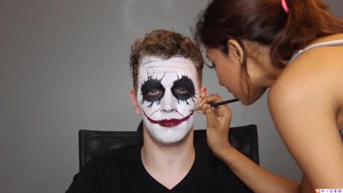 美妆:化妆师把男子化妆打扮成影视剧中的小丑,还真得挺像呢!
