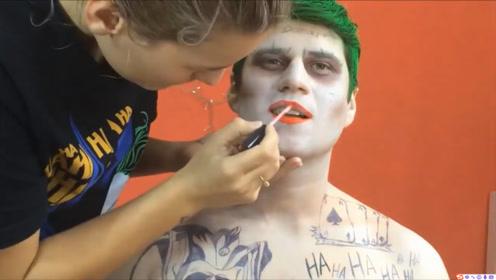 美妆:化妆师把男子化妆成小丑,而女友则美妆成哈莉奎因,好看吗