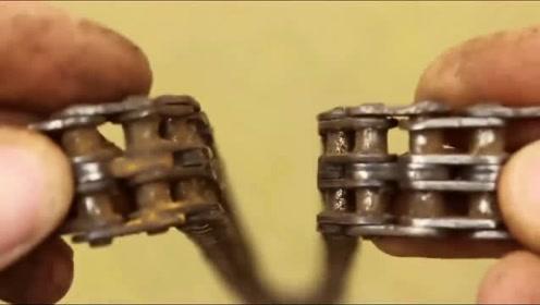 用废旧的自行车链条做一个万能工具,这聪明才智让人佩服