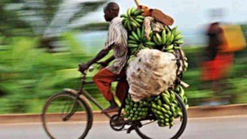 """非洲""""二八杠""""自行车,运送200多斤香蕉,下坡速度堪比小汽车"""