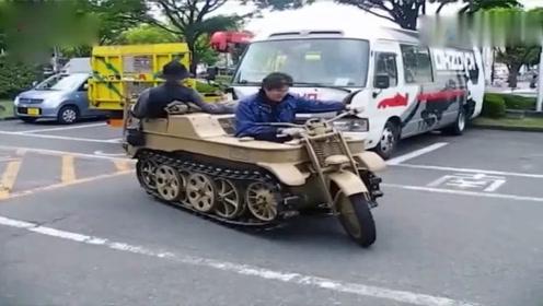 开像坦克的摩托车在街上,太酷炫了,网友:想开!