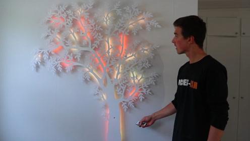 牛人用3D打印出一棵树,连上LED灯后成装饰品,网友:美呆了