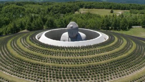 日本修建在墓地的大佛,远看只露出一个头顶,雄伟壮丽让人叹服!
