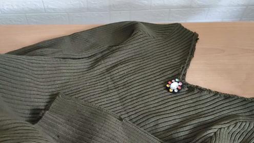 高领针织衫穿腻了?这样剪一下改成V领, 漂亮又时尚穿上还显瘦