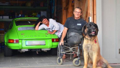 没有双腿就不能开车?国外大叔励志逆袭,20年改装保时捷上赛道