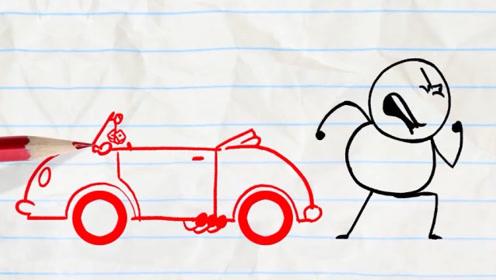 铅笔人开车兜风,下一秒汽车被怪物吃掉,铅笔人很生气后果很严重