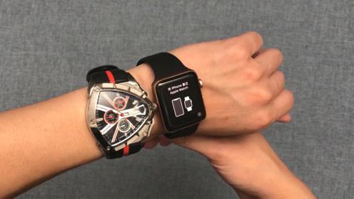 1399元买的苹果手表开箱,对比兰博基尼手表:真的会比较帅吗?