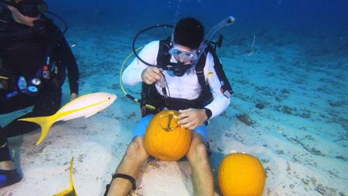 水下南瓜雕刻大赛:参赛者两两合作潜入水中雕南瓜