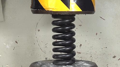 液压机对战巨型弹簧,谁知屡战屡败,实验者一招助攻液压机夺冠!