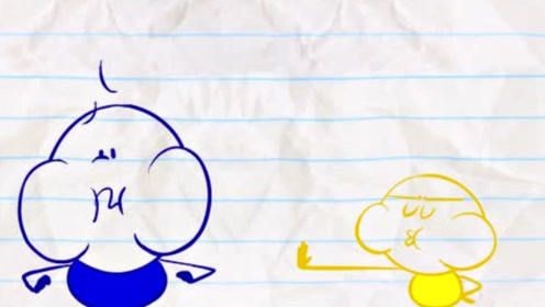 铅笔人和朋友比赛憋气,铅笔人憋太久后飞到天上,下一秒只剩皮囊