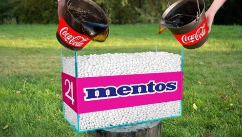 将可乐倒进一缸曼妥思中,会发生什么?老外亲测,画面太刺激了