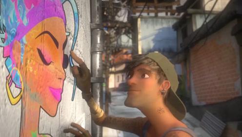 """艾克在墙上画了一个""""女朋友"""",城管抓走艾克,女友复活帮助他"""