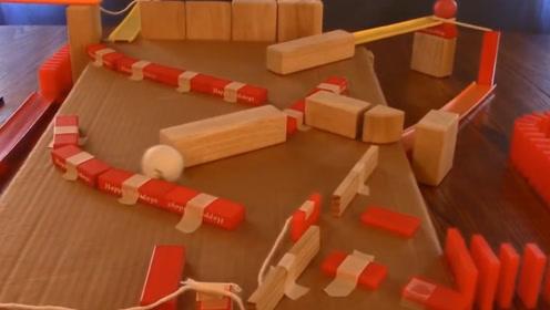 多米诺骨牌都知道,一个乒乓球组成的连锁反应,看完涨知识了