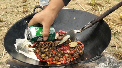 在农村螺蛳吃了这么多年,见到这个做法,放一瓶啤酒,味道真香