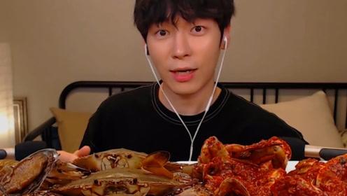 韩国吃货挑战变态辣海鲜,一口下去口水直流!四川人:听说你在吃辣椒!