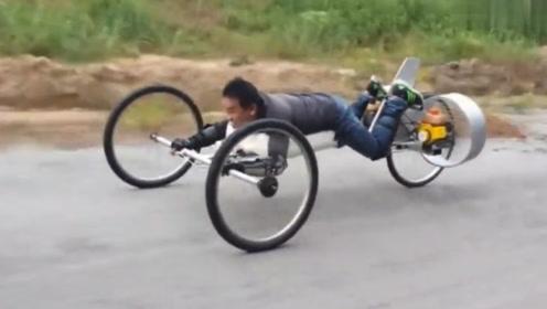 小伙自制螺旋桨三轮车,时速最快可达35千米,启动后飞一般的感觉