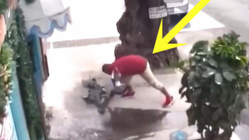 本以为男子是在给鸽子喂食,下一秒的举动太丢人了!