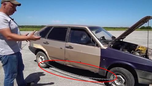 """铁链锁车?外国大叔这汽车防盗够""""暴力"""",没想到解锁方法更给力!"""