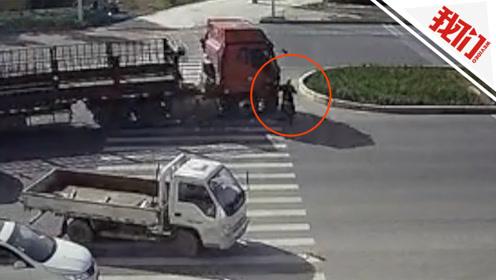 七旬老人被大货车卷入车底 一个侧身让他死里逃生