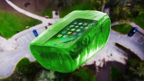 世界上最大的硬糖,能保护100米高空扔下的苹果手机吗?结果有点意外!