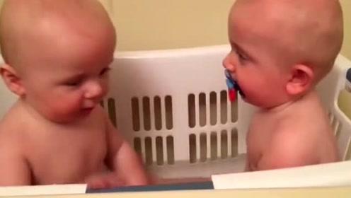 两个小宝宝抢一个奶嘴,好萌的样子,太可爱了!