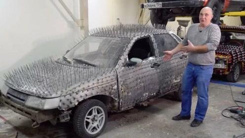 大叔担心被人碰瓷,给车子焊上6000颗钉子,这下谁还敢碰瓷?