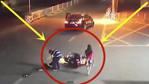 轿车撞倒摩托,司机下车本以为是好人,不料他人面兽心!