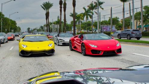 超级跑车大聚会:有兰博基尼Aventador S、法拉利、迈凯伦等!