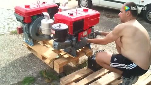 老外同时启动两台中国产的柴油机,这性能很让人满意