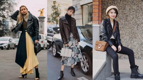 秋冬衣橱必备时尚单品,皮衣造型让你秒变最酷女王