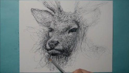精致而逼真的麋鹿,原来是这样画的,看着好厉害!