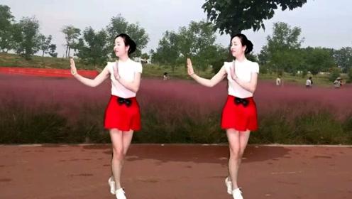 驿城区微笑广场舞《爱情果》旋律优美的弹跳舞,简单好学