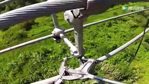 实拍765000伏高压电线路,带电安装间隔,这电弧太恐怖了!
