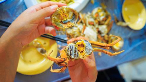 在稻田养出来的盘锦河蟹,味美黄多,嘬一口好吃到颤抖