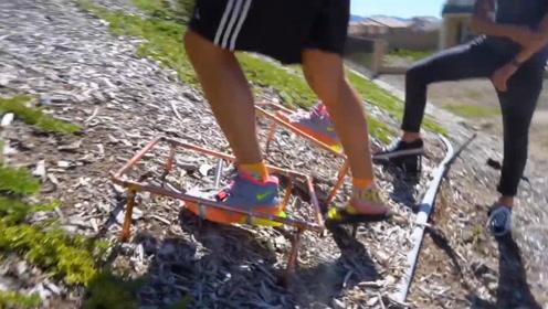 为了更好的爬山,小哥们决定改造鞋子,他们的改造能成功么