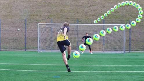 把足球充满氦气会发生什么?一脚踢下去,网友:这是特效吧?
