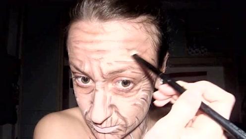 堪比特效的变老妆容,上妆后,女孩看着跟80岁似的!