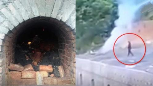 太吓人!煤炉顶部塌陷 男子突然掉进1200度的煤炉