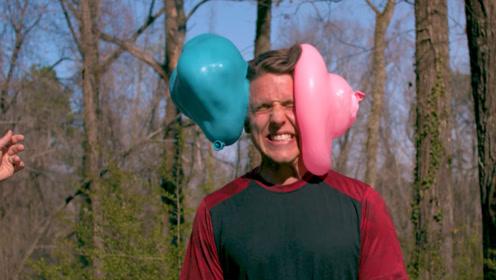 水气球那么软,砸在头上会疼吗?老外亲自实验,看表情就知道!