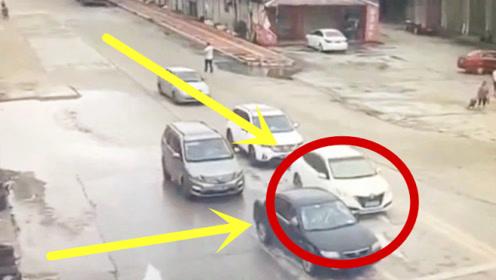 """5辆汽车正等红灯,瞬间变成""""废铁"""",监控拍下惨烈3秒!"""