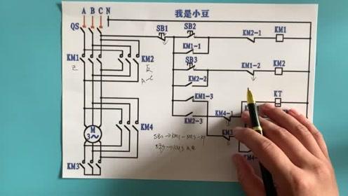 电工知识:正反转星三角启动电路,工作原理,电路图实物讲解