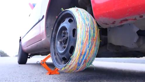 用10000根橡皮筋代替轮胎,汽车还能开动吗?网友:真心疼