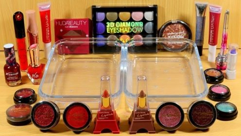 双盆史莱姆教程,指甲油+时尚口红+彩色眼影,效果超级解压