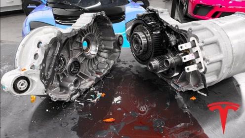 特斯拉引擎内部有多高级?老外费力将其拆解开后,里面的构造看花眼