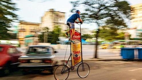 世界上最高的自行车,上得去下不来?网友:高处空气好闻吗!